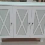 mueble recibidor lacado con cristal lacobel blanco roto